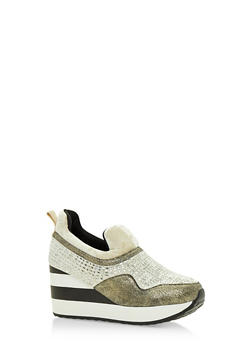 Multi Textured Striped Platform Sneakers - GOLD - 3118068265384