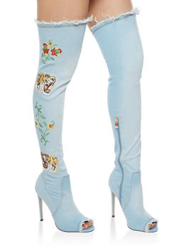 Thigh High Embroidered Denim Peep Toe Boots - 3118070963567