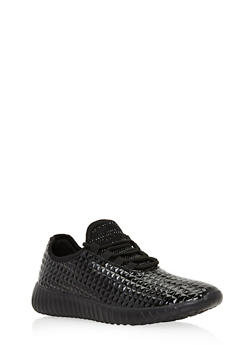 Lace Up Textured Sneakers - BLACK - 3118073541750