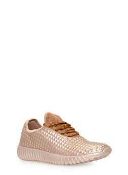 Lace Up Textured Sneakers - ROSE GOLD - 3118073541750