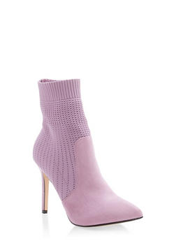 Knit Pointed Toe Booties - MAUVE - 3118073541777