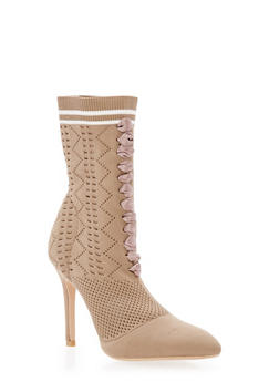 Lace Up Knit Sock High Heel Booties - BEIGE - 3118073541778