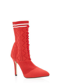 Lace Up Knit Sock High Heel Booties - RED - 3118073541778