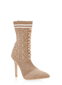 Lace Up Knit Sock High Heel Booties - ROSE GOLD GLITTER - 3118073541778