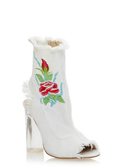 Frayed Denim Heeled Booties with Floral Embroidery - WHITE - 3118074042277