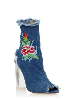 Frayed Denim Heeled Booties with Floral Embroidery - 3118074042277