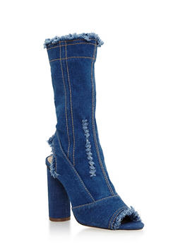 Frayed Denim Peep Toe High Heel Booties - 3118074042278