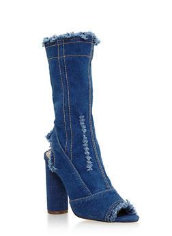 Frayed Denim Peep Toe High Heel Booties - 3118074042278