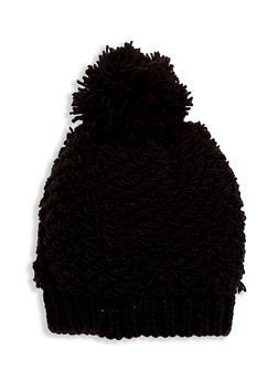 Loop Knit Hat with Pom Pom - 3119041650217