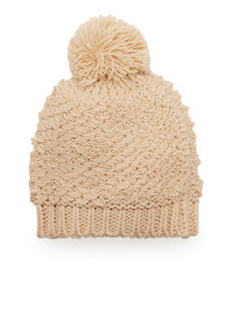 Loop Knit Hat with Pom Pom - OATMEAL - 3119041650217