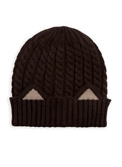 Cable Knit Cat Ear Beanie - BLACK - 3119041651028