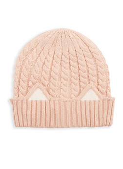 Cable Knit Cat Ear Beanie - BLUSH/WHITE - 3119041651028