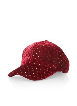 Quilted Sequin Velvet Baseball Hat - BURGUNDY - 3119041651051