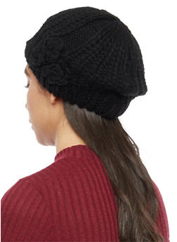 Chunky Knit Beret with 3 Rosette Accents - BLACK - 3119041652426