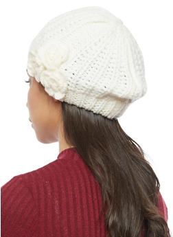 Chunky Knit Beret with 3 Rosette Accents - WHITE - 3119041652426