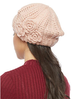 Chunky Knit Beret with 3 Rosette Accents - BLUSH - 3119041652426