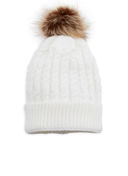 Cable Knit Pom Pom Hat - 3119041655637