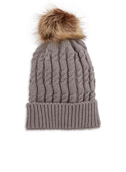Cable Knit Pom Pom Hat - TAUPE - 3119041655637