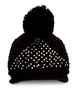 Pom Pom Hat with Crystals - BLACK - 3119041655807