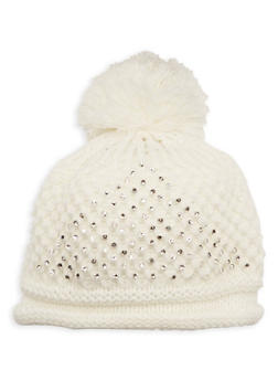 Pom Pom Hat with Crystals - WHITE - 3119041655807