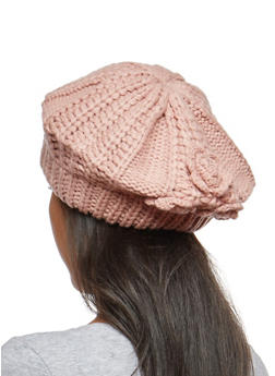 Chunky Knit Beret with Rose Detail - 3119041656242