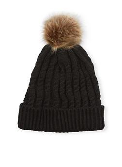 Cable Knit Beanie Hat with Fur Pom Pom - 3119041656537