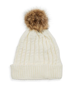 Cable Knit Beanie Hat with Fur Pom Pom - WHITE - 3119041656537