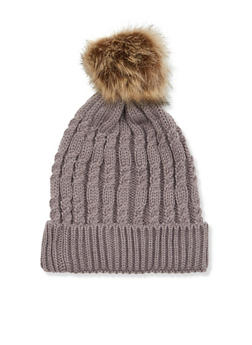 Cable Knit Beanie Hat with Fur Pom Pom - TAUPE - 3119041656537