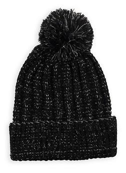 Pom Pom Heavy Knit Beanie - BLACK - 3119041656878