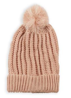 Pom Pom Heavy Knit Beanie - BLUSH - 3119041656878
