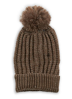 Pom Pom Heavy Knit Beanie - 3119041656878