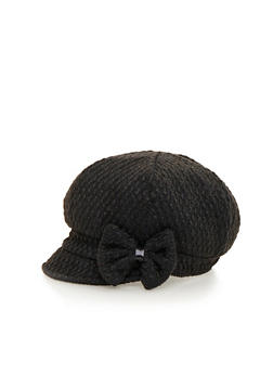 Paperboy Cap with Bow - BLACK - 3119041657369