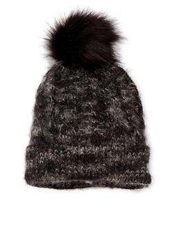 Fuzzy Beanie Hat with Faux Fur Pom Pom - 3119041658628