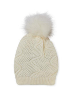 Patterned Knit Beanie Hat with Pom Pom - WHITE/WHITE - 3119041658642