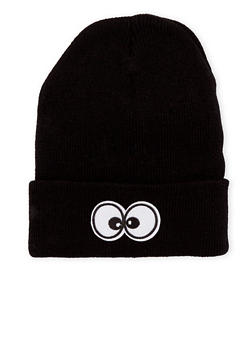 Beanie Hat with Eyes Patch - BLACK - 3119041658674