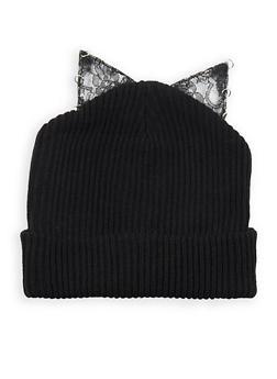 Lace Cat Ear Beanie - BLACK - 3119041658688