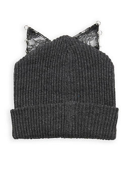 Lace Cat Ear Beanie - GREY - 3119041658688
