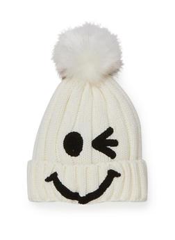 Smiley Face Beanie Hat with Pom Pom - 3119041658691