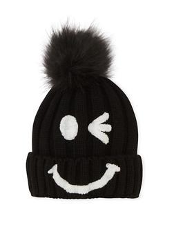 Smiley Face Beanie Hat with Pom Pom - BLACK/WHITE/BLACK - 3119041658691