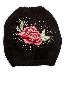 Rhinestone Rose Patch Bun Hat - 3119042740707