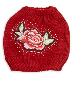 Rhinestone Rose Patch Bun Hat - 3119042740707