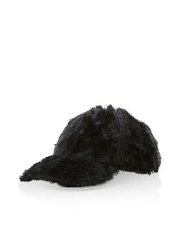 Faux Fur Baseball Cap - BLACK - 3119067441217