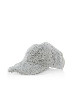 Faux Fur Baseball Cap - GREY - 3119067441217