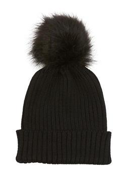 Beanie Hat with Faux Fur Pom Pom - 3119067444600