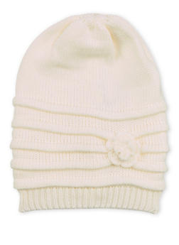 Ribbed Beanie Hat with Flower - 3119067444601