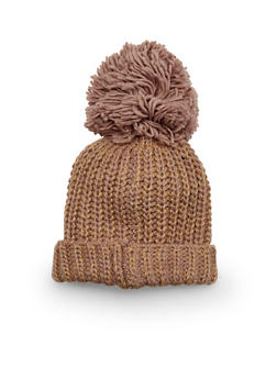 Chunky Knit Beanie Hat with Pom Pom Topper - TAUPE - 3119067444603