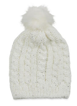 Pom Pom Beanie Hat with Sequins - IVORY - 3119067444604