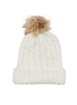 Beanie Hat with Faux Fur Pom Pom - 3119067444610