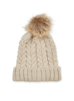 Beanie Hat with Faux Fur Pom Pom - NATURAL - 3119067444610