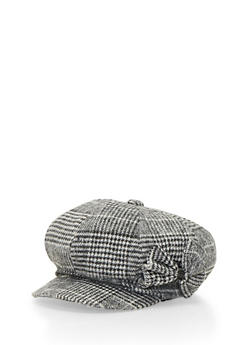 Knit Paperboy Cap with Bow - GRAY - 3119067444611